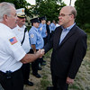 Congressman Jim McGovern thanks first responders and Fire Chief John Bennett following a vigil for Vanessa Marcotte on Tuesday evening. Worcester County District Attorney Joseph Early Jr. confirmed during a press conference on Monday that the body of missing jogger and former Leominster resident Marcotte, 27, had been found in Princeton and that her death is being investigated as a homicide. SENTINEL & ENTERPRISE / Ashley Green
