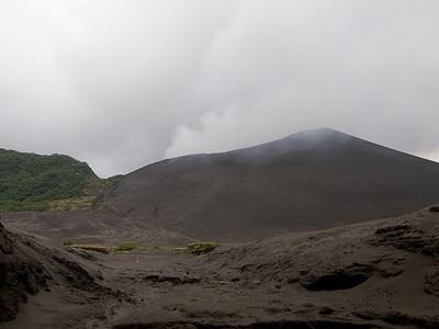 Mt Yasur from the ash plain.