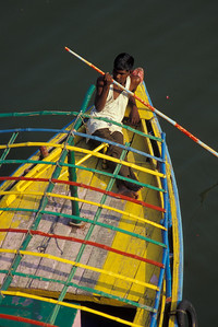 Scene from the Ganges (Ganga) River on the banks of Varanasi, India.