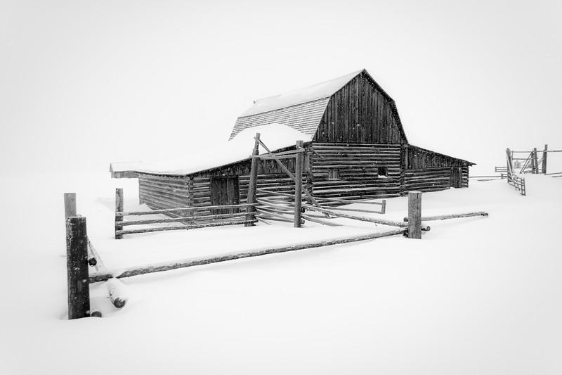 John Moulton Homestead Barn in winter.