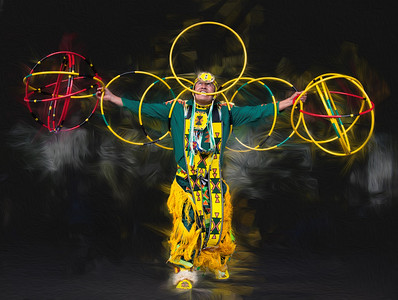 Hoop Dancer. Received honourable mention in the First Nations category of the Calgary Stampede Photo Contest - 2013. Created in Photoshop and Corel Painter.