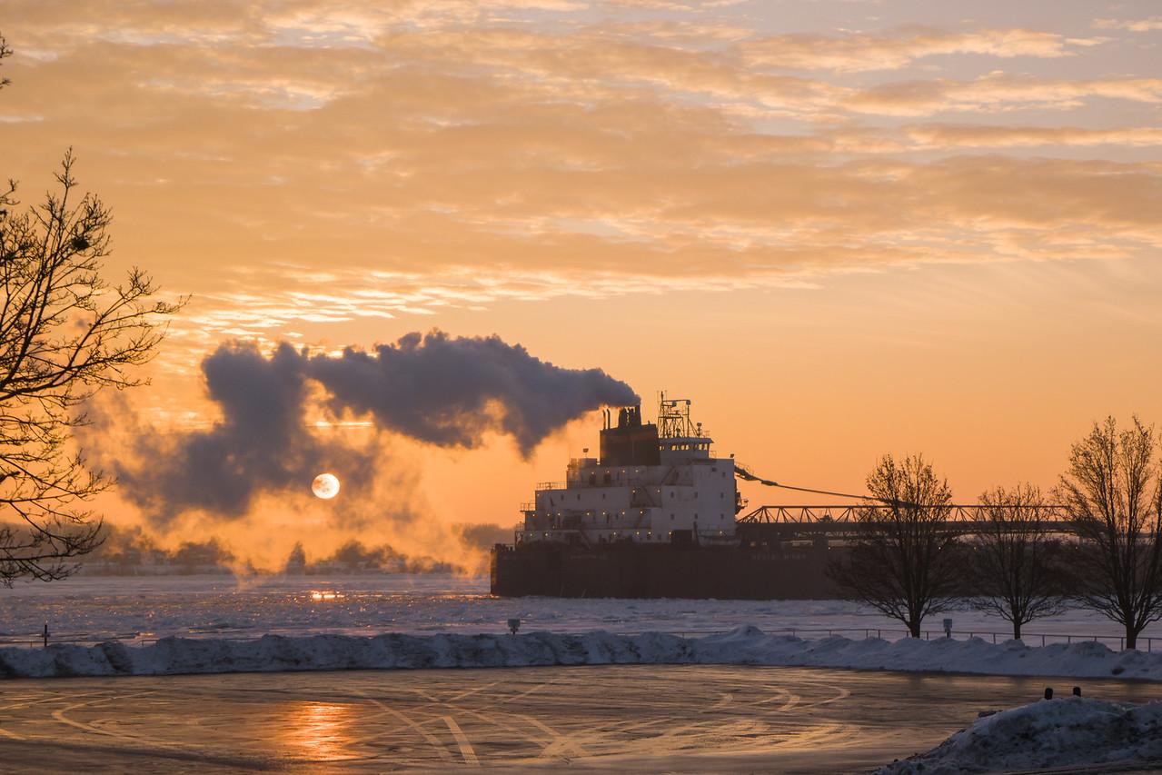 St Clair, MI Freighter At Sunrise