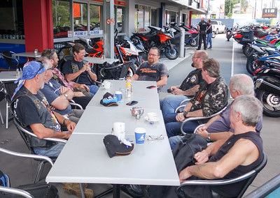 8th January 2016 - Some of the Steel Horses crew enjoying breakfast at Tony's Cafe at Springwood Suzuki.