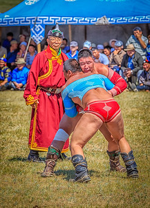 Wrestling at a Naadam Festival
