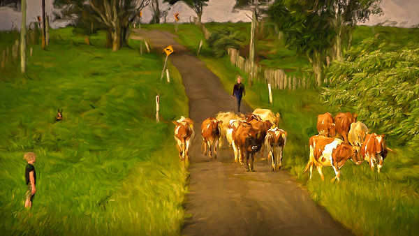 Big sister bringing home the cows, with little brother and Kelpie on point. Impressionist version.