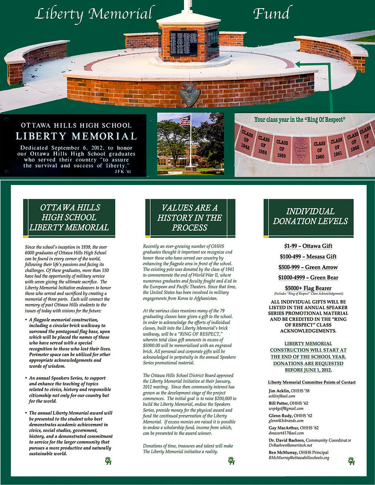 Liberty Memorial Fund Brochure with sample text.