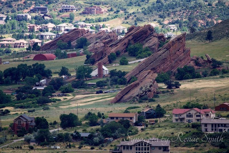 Closeup of the upheaval of rocks at Red Rocks, Colorado