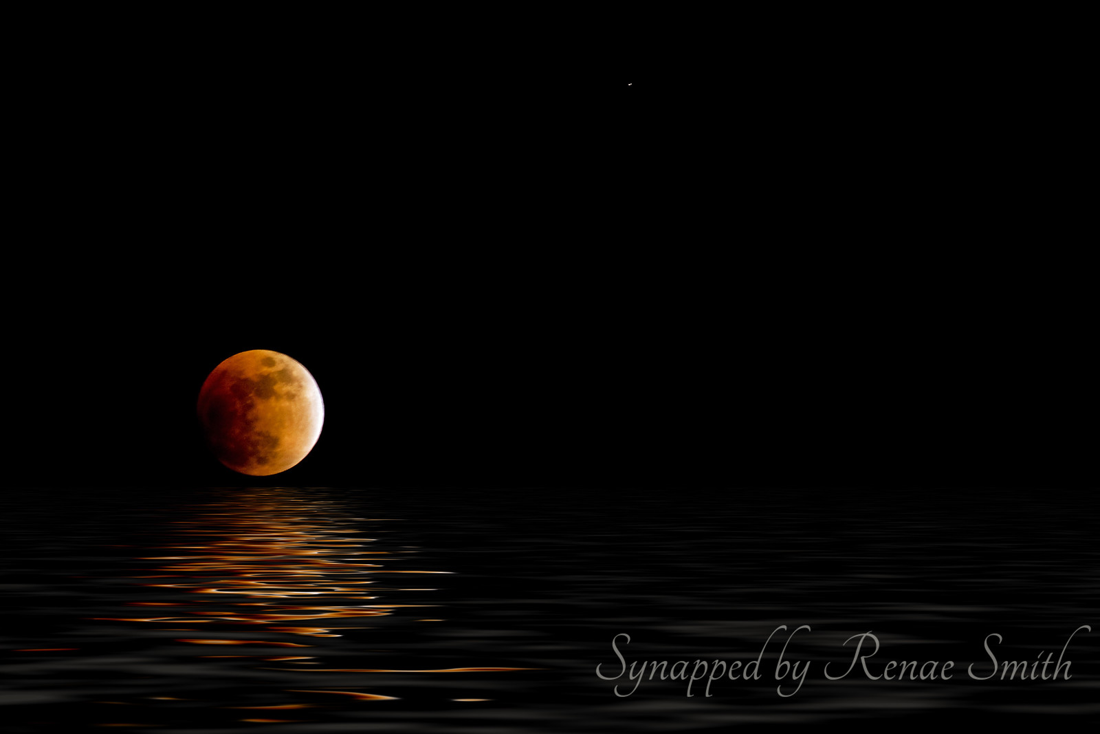Tangerine Moon<br /> <br /> (Used Photoshop Flood Plug-In with a shot of an eclipse moon)