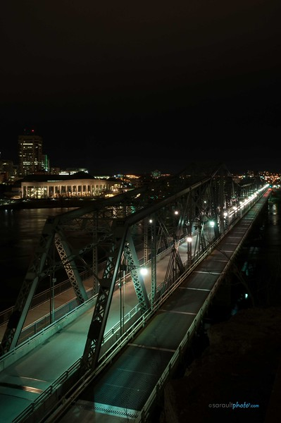 View of Alexandra Bridge from Ottawa Ontario Canada's Capital also view on the  Museum of History on the Left