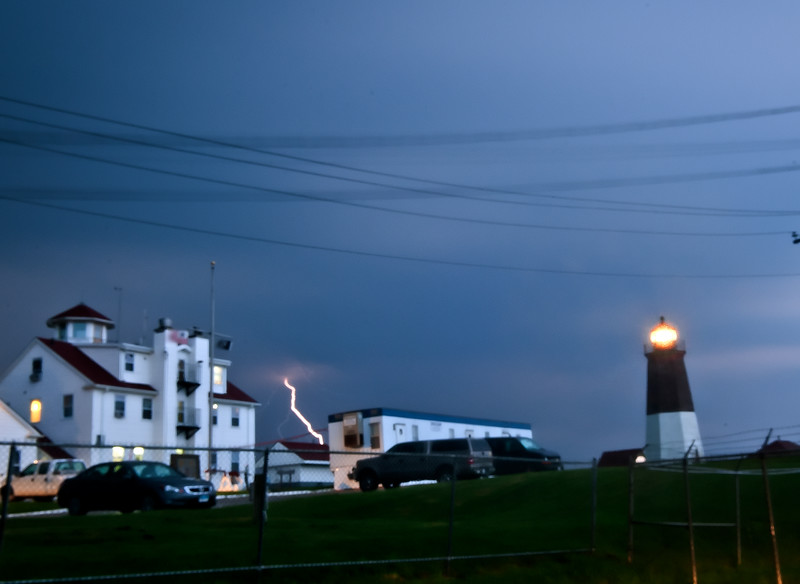 Man it is difficult to a get photo of a lighting strike, it never seems to happen while you are ready.  This one was disappointingly a little blurry, but its the best I got, since I didn't see any more right behind the lighthouse after the rain let up enough to setup a tripod.