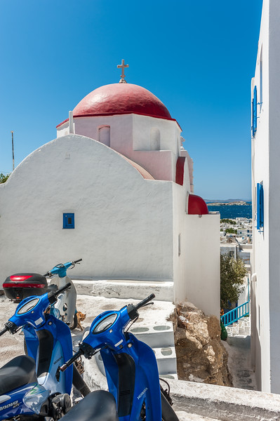 Mykonos Scooters and Church