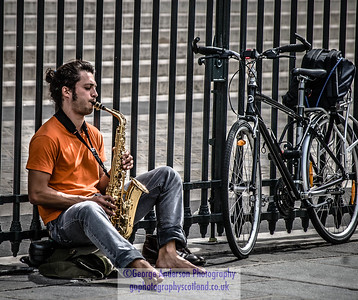 Practising his sax Paris France