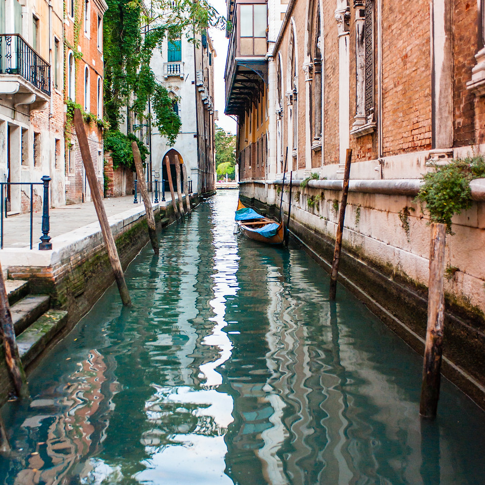 Venice Lone Boat in Water Alley