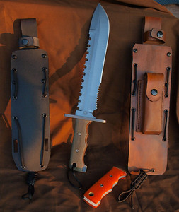 Relentless Knives M1A Spear Point   Military Survival knife w/ interchangable handles/Green Canvas Micarta and Oranger G10