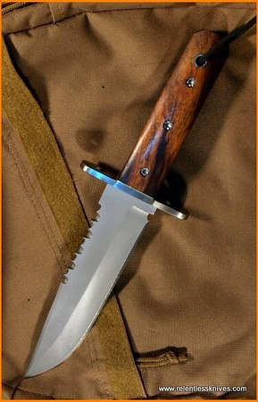 Relentless Knives Rattle Snake Bowie w/Desert Ironwood Handles