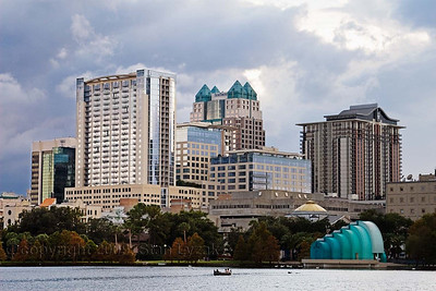 Downtown buildings as seen from Lake Eola in Orlando, Florida 2008