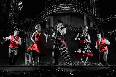 Dancers in black and white (red color retained) at Gaylord Palms Resort in Kissimmee, Florida.