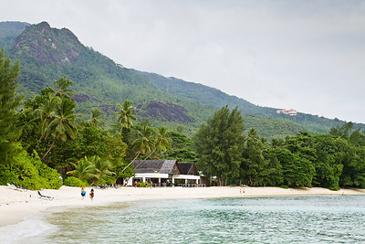 A day at the beach on a tropical resort in Mahe, Seychelles, 2012