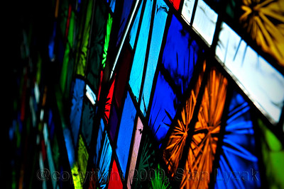 Close up of church stained glass in Atlanta GA.
