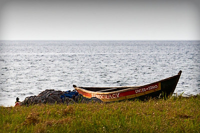 Old beached boat on the Atlantic coast in Freetown, Sierra Leone. Nov, 2011.