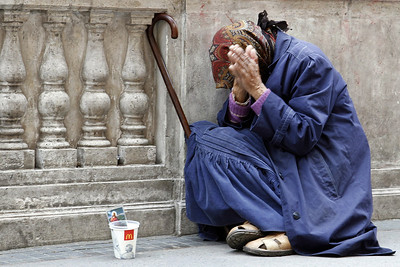Beggar woman in Budapest, Hungary.