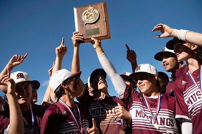 The Monmouth Academy Mustangs celebrate their Class C South regional championship in Standish on Thursday.