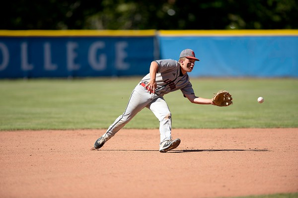 Lisbon shortstop Nick Ferrence fields a ground ball during the Class C South regional final against Monmouth Academy in Standish on Thursday.