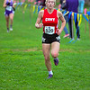 BELFAST, ME - OCTOBER 23: Cony's Emma Brown runs towards finish line near end of course during girls Class B cross country North regionals Saturday October 23, 2021 in Belfast. (Staff photo by Joe Phelan/Staff Photographer)