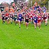 BELFAST, ME - OCTOBER 23: Bangor's Daniel McCarthy, 274, center, had early lead on way to winning Class A boys as pack head outs from starting line at cross country North regionals Saturday October 23, 2021 in Belfast. (Staff photo by Joe Phelan/Staff Photographer)