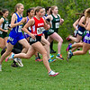 BELFAST, ME - OCTOBER 23: Cony's Grace Kirk takes off from starting line during girls Class B cross country North regionals Saturday October 23, 2021 in Belfast. (Staff photo by Joe Phelan/Staff Photographer)
