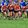 BELFAST, ME - OCTOBER 23: Cony Rams take off a the sound of the gun from starting box 13 during girls Class B cross country North regionals Saturday October 23, 2021 in Belfast. (Staff photo by Joe Phelan/Staff Photographer)