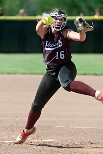 3353# 14494# BREWER, MAINE JUNE 16, 2021. Nokomis pitcher Mia Coots challenges a Winslow batter during the Class B North softball championship game in Brewer, Maine Wednesday June 16, 2021. (Rich Abrahamson/Morning Sentinel)