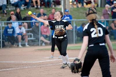 Saint Dominic Academy third baseman Alyssa Hart throws home during Wednesday's game against Searsport. Photos by Daryn Slover/Sun Journal