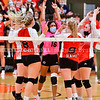 GARDINER, ME - SEPTEMBER 29: Cony Rams celebrate winning a point during a volleyball match Wednesday September 29, 2021 in the in the James A. Bragoli Memorial Gym at Gardiner Area High School. (Staff photo by Joe Phelan/Staff Photographer)