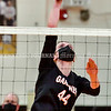 GARDINER, ME - SEPTEMBER 29: Gardiner's Lizzy Gruber spikes during a volleyball match Wednesday September 29, 2021 in the in the James A. Bragoli Memorial Gym at Gardiner Area High School. (Staff photo by Joe Phelan/Staff Photographer)