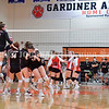 GARDINER, ME - SEPTEMBER 29: Gardiner Tigers celebrate a a three set sweep over Cony to win a volleyball match Wednesday September 29, 2021 in the in the James A. Bragoli Memorial Gym at Gardiner Area High School. (Staff photo by Joe Phelan/Staff Photographer)