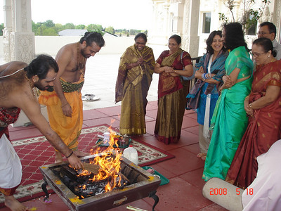 Homam was performed Outside Temple,and it was 50 F and windy