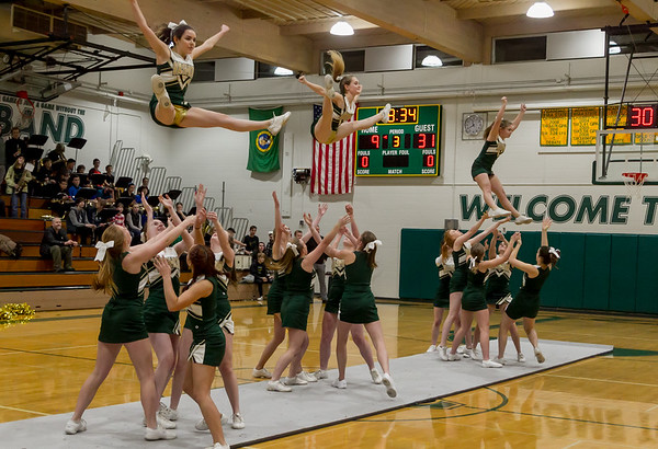 Set three: Winter Cheer and Crowd at Girls Varsity Basketball v Seattle Christian - Seniors Night 2018