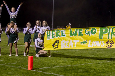 Vashon Island High School Fall Cheer banner run-through at Football v Concrete
