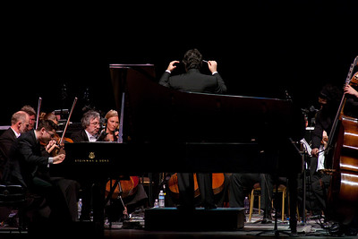 The Eldar Djangirov Trio performs with the Russian National Orchestra, with Constantine Kitsopoulos, conductor at the fourth annual Festival of the Arts BOCA in Boca Raton, Florida.