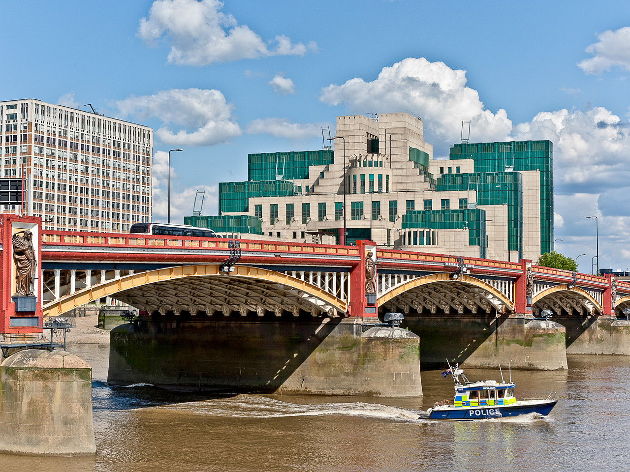 Vauxhall Bridge in South London and the MI5 Building