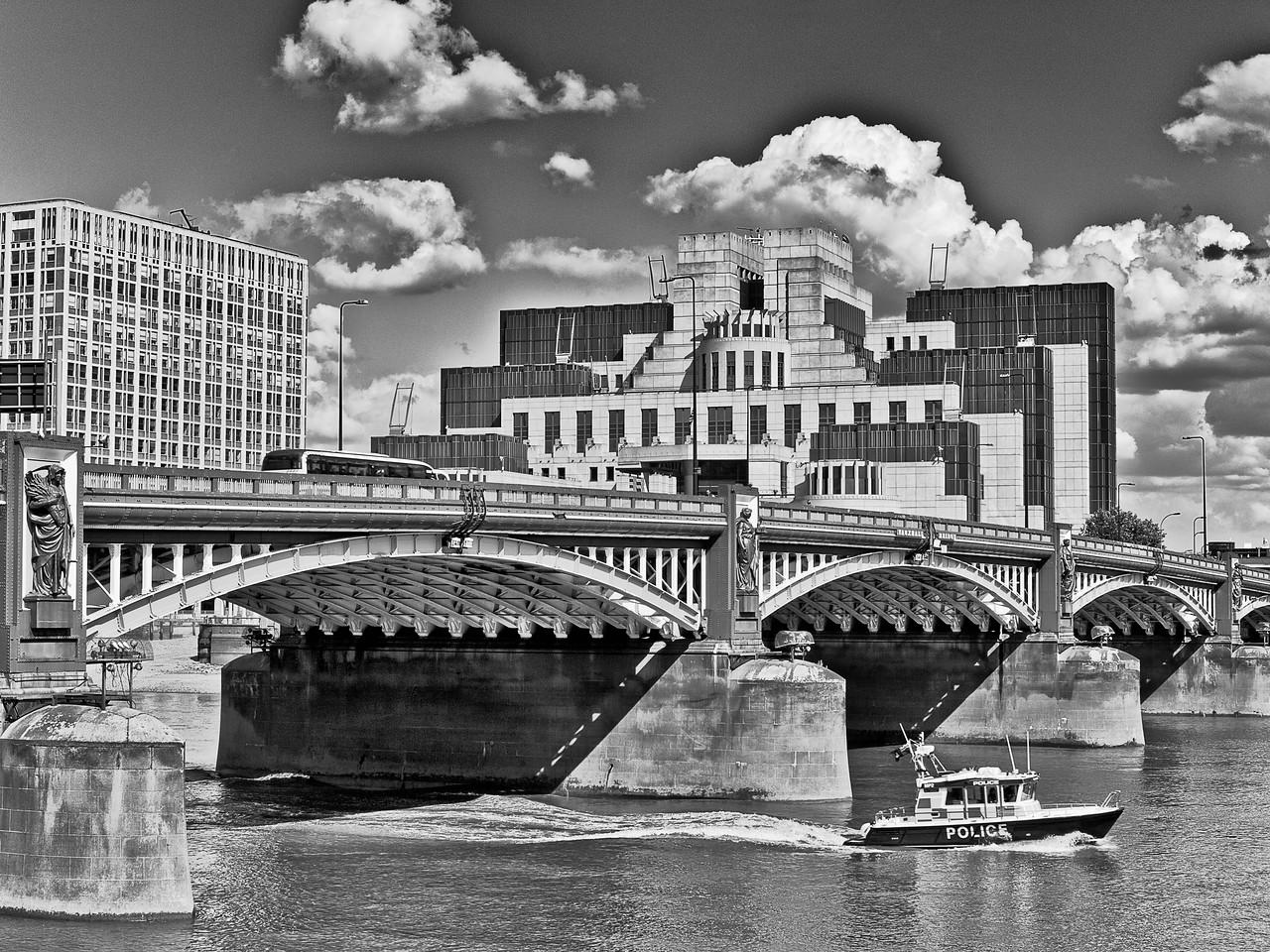 Vauxhall Bridge in London, England with the MI5 Building