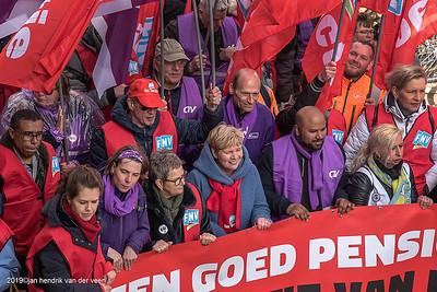 nederland 2019, groningen, centrum, grote markt, pensioenactie