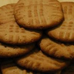 Peanut Butter Cookies<br /> <br /> 1/4 cup  HOney<br /> 3/4 cup  Peanut Butter<br /> 1/4 tsp  Salt<br /> 1 cup  Oat flour<br /> <br /> Make oat flour by blending quick or rolled oats.  Stir together all ingredients, adding the flour last.  Roll into small balls the size of an unshelled walnut.  Place on an oiled cookie sheet.  Flatten with a fork, that is moistened with water, to about 1/4 inch thick.  Bake at 350 degrees for 7-10 minutes until golden brown.  Makes 15-18.