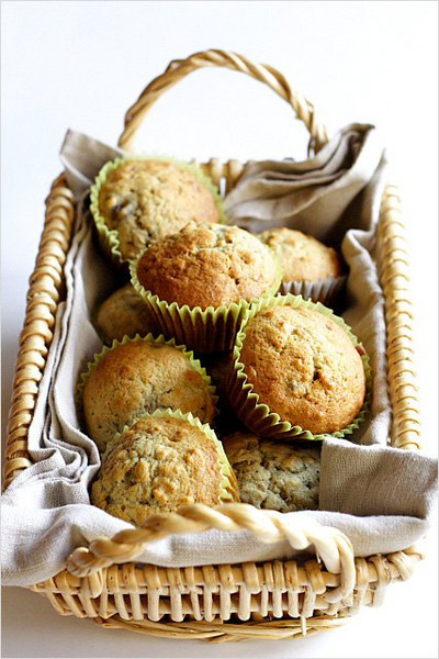 Banana Muffins<br /> <br /> 2  Bananas<br /> 1/2  milk or soy milk<br /> 2 tsp  Lemon flavoring<br /> 1/2 cup  Oil<br /> 1 Tbsp  Vanilla<br /> 1/4 tsp  Stevia<br /> 1/2 cup  Succanat (unrefined cane sugar)<br /> 1/2 cup  Whole wheat flour<br /> 1 1/2 cup  Unbleached flour<br /> 2 tsp  Rum flavoring<br /> 4 tsp  Energy baking powder<br /> 1 tsp  Salt<br /> <br /> METHOD:<br /> Place bananas, milk, flavorings oil, Stevia, Succanat in blender and blend until mixed well (fluffy).  <br /> <br /> Sift all dry ingredients, baking powder and salt.<br /> <br /> Empty blender mixture into dry ingredients and lightly mix.  <br /> <br /> Fill muffin pans almost full after you spray or oil cups.  Bake at 350 degrees approximately 30 minutes.<br /> <br /> Option:<br /> Add 1/2 cup chopped walnuts and one more banana.  Maple, butterscotch, carmel flavoring may be added instead of run flavoring.  Can also add dried apples and/or papaya slices and craisins.