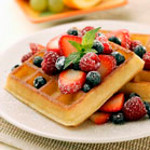 Healthy and Delicious Waffles<br /> <br /> 1 ¼ Cups White Flour<br /> 1 Cup Whole Wheat Flour<br /> 2 Tbs Sugar<br /> 1 Tbs Baking Powder<br /> ½ Cup Oil<br /> 1 tsp Nutmeg<br /> 2 tsp Cinnamon<br /> 1 tsp Salt<br /> 2 ½ Cups Soymilk<br /> <br /> Mix together all ingredients (do not over mix—the batter should not be completely smooth).  Spoon batter into waffle maker and cook.  This can be used as either a breakfast waffle or a dessert waffle.