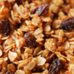 Teenie's Granola<br /> <br /> 7 Cups Oatmeal<br /> ½ Cup Whole Wheat Flour<br /> 1 Cup Wheat Germ<br /> 1 ½ Cups Coconut<br /> 1 Cup Slivered Almonds or other nut<br /> ½ Cup Oil<br /> ½ Cup Warm Water<br /> 1 ½ Tbs Vanilla<br /> ¾ Cup Brown Sugar<br /> 2 tsp Salt<br /> <br /> Blend oil, warm water, vanilla, brown sugar and salt in a blender.  Add liquid ingredients to dry ingredients.  Mix thoroughly.  Place in large, shallow pans.  You have two choices for baking: either bake overnight at 200 or bake 1 ½ to 2 hours at 250 (stirring every 15-20 minutes to prevent burning).