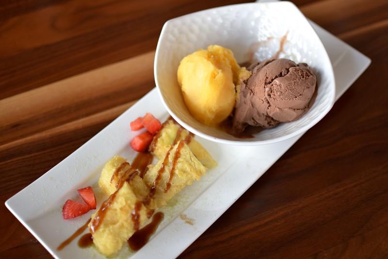 Dessert! Banana tempura, sorbet and chocolate coconut ice cream.