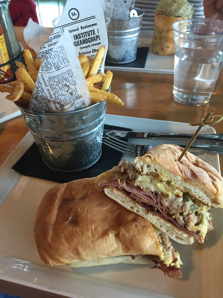 Lunch at the springs preserve cafe.  A wrap fr sylvia and cuban sandwich for me