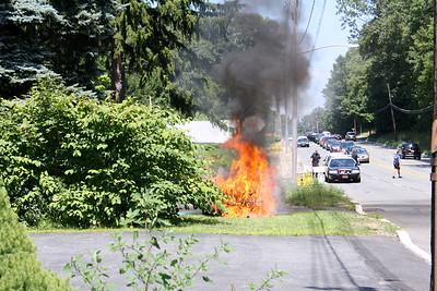 Budd Lake Handle Car Fire on Rt. 46